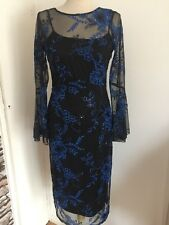 M&S Collection black/blue lace and sequin evening/party dress Size 8 R,RRP £89
