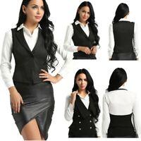 Women Slim Fit Suits V-Neck Formal Jacket Work Dressy Vest Business Dress Suits