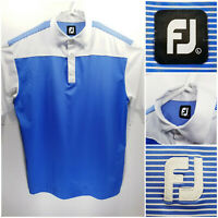 FootJoy FJ Mens Large Golf Shirt Polo Blue White Polyester