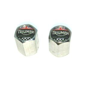 Triumph Union Jack Tyre Valve Caps Dust Caps Motorcycle Motorbike x2