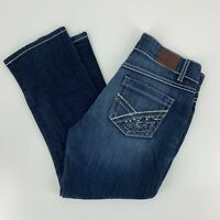 Bke Couture Buckle Womens Jeans Stretched Cropped Denim Size 31 Studded Dark