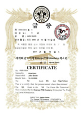 Wtf Taekwondo Rank Printed Certificates - We Fill Them Out For You!