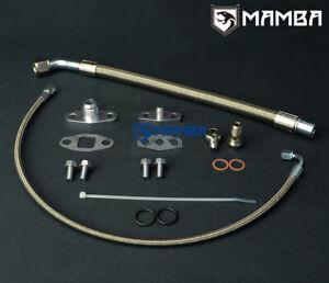 MAMBA Turbo Oil Feed & Return Drain Line Kit For VOLVO 740 940 w/ Garrett T3 T4