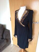 Ladies DVF Dress Size 8 Black Snake Trim True Wrap Stretch Party Evening
