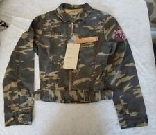 Women's NESLAY Camo Military Jacket Top Blouse Large Embellished Casual NWT Belt