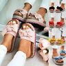 Womens Slip On Sandals linen Bow Flat Mule Summer Sliders Espadrille Shoes Size