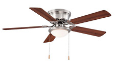 52 In. Hugger Ceiling Fan LED Light Brushed Nickel Flush Mount Reversible Blades