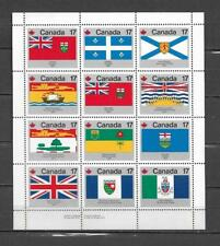 pk36649:Stamps-Canada #832a Provincial Flag 17 cent Lower Left Field Sheet -MNH
