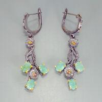Emerald Earrings Silver 925 Sterling Handmade7x5mm/E38187