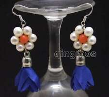 SALE 6-7mm White Round Pearl and 20*30mm Blue Silk Flower Tassel Earring-ear592