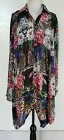 VEDUCCI Black/Multi-Coloured Floral Wool Blend Shirt/Tunic Size 16