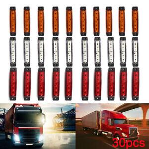 30 pcs White Red Orange 24V LED Side Front Marker Lights POSITION TRUCK LAMPS