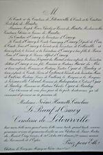 COMTESSE LETOURVILLE Boeuf Osmoy FAIRE PART Maistre Malinguehen Colleville 1903