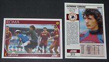211 CERVONE AS ROMA FOOTBALL CARD 92 CALCIATORI 1991-1992 CALCIO ITALIA SERIE A