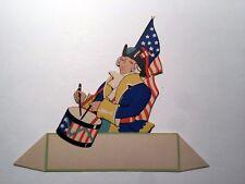 Vintage Bridge Game Tally Place Card -- Patriotic Colonial Drummer w/ Flag