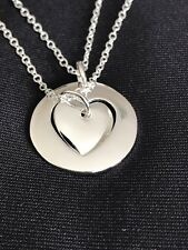 Mother Mom Daughter Two Double Hearts Pendant 925 Silver Plated Necklace 2pcs