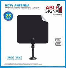 INDOOR PAPER THIN FLAT HDTV TV ANTENNA 25 MILES  VHF UHF WITH STAND