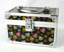 Cute Locking Jewelry Box Purse, Black & Silver w Multi-color Hearts w Keys