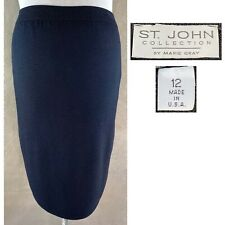 "ST JOHN Women's VINTAGE 80's Sz 10 - 12 Black Santana Knit 25"" Pencil Skirt  EUC"