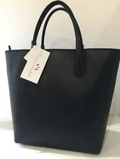 Medium Navy Grade A 100% Italian Leather Ladies Divider Handbag Shoulder Bag