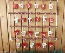 Christmas Wooden Twig Hanging Advent Calendar 24 Numbered Red Cream Tin Buckets