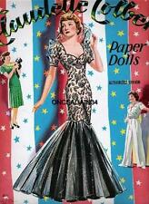 Vintage Uncut 1943 Claudette Colbert Paper Dolls~#1 Repro~All 8 Pages Clothing!