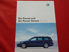 "VW Passat + Passat Variant ""Family"" Sondermodell Prospekt von 2002"