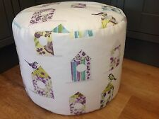 "BEANBAG /POUFFE HAND MADE IN ""BIRD HOUSE"" FABRIC - HAND CRAFTED"