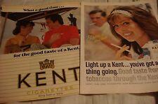 Vintage Kent Cigarette Magazine Print Ads Lot of 2 Different 1965 & 1970