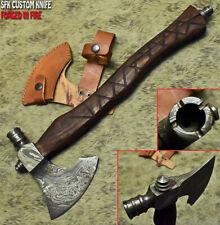 SFK CUTLERY CUSTOM MADE DAMASCUS STEEL ART TOMAHAWK KNIFE ,HATCHET, AXE,INTEGRAL