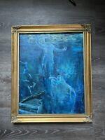 Original Painting Surreal Spaceman Astronaut acrylic framed Stella Hanamori wate