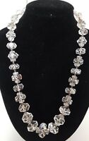 Antique 1930 Art Deco Czech Old Rondell Cut Faceted Rock? Crystal Bead Necklace