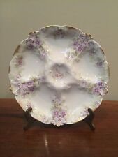 Antique Limoges OYSTER PLATE CH FIELD HAVILAND GDA Purple Flowers c.1900