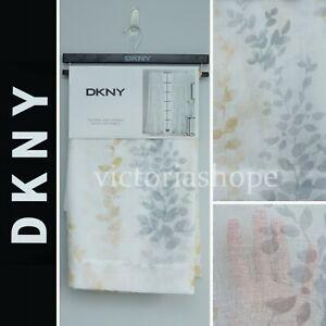 DKNY 2 Panels SHEER Window Curtain Drapes ~ Watercolor Petunia Yellow ~50x84/96