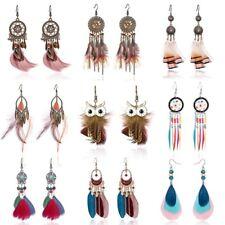 Women Long Tassel Earrings Owl Earrings with Leaves and Feather Bridal Jewelry