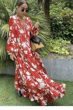 H&M X Johanna Ortiz Maxi Vestido Rojo voluminoso Flor Kaftan Floaty Medio Bnwt