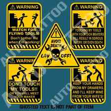TOOLBOX WARNING DECAL STICKER SET X5 TOOL BOX DON'T TOUCH TOOLS DECALS STICKERS
