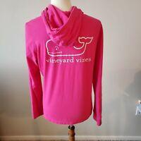Vineyard Vines Womens Size Medium Pink Long Sleeve Hoodie Whale Graphic