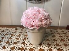 Shabby Chic Pink Artificial Cottage Roses In A White Ceramic Pot