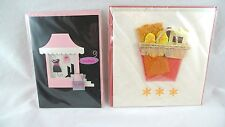 2 BLANK Greeting Cards IN PLASTIC WRAP Colorful WOMEN SHOPPING & BEACH
