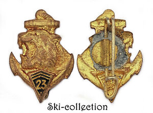 Insigne-Miniature 23°Régiment d'Infanterie Coloniale. Email. France