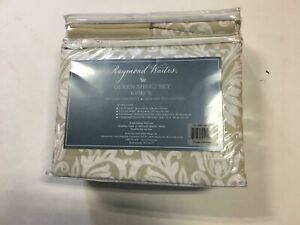 Raymond Waites Queen Sheet Set 6- Pc, 300tc 100% Cotton Sateen  Orsay Oatmeal