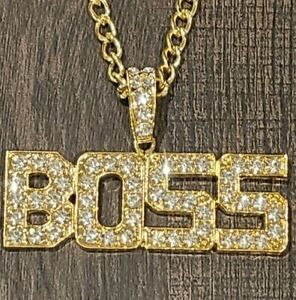 "14k Gold Boss Iced CZ Pendant 28"" Cuban Link Chain CEO King"