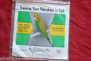 """TRAINING YOUR PARRAKEET TO TALK sealed 45 Record 7"""""""