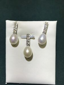 White Gold 18K Diamond Set of Pearl ( Earring/Pendant) GIA Gemologist Appraisal