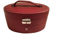 """Mary Key Makeup Travel Case Bag Maroon Color 9"""" Long 4.5"""" Tall 7"""" Wide Leather"""