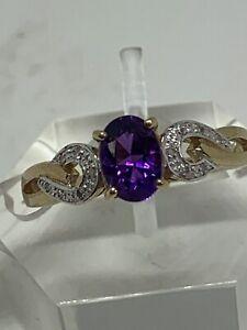 9CT YELLOW GOLD AMETHYST DIAMONDS ART DECO STYLE RING