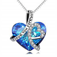 "Silver ""I Love You Forever"" Heart Pendant Necklace Made with Swarovski Crystals"