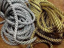 """Vintage 3/16"""" Twisted Metallic Gold or Silver Rope Cord 1yd Made in France"""