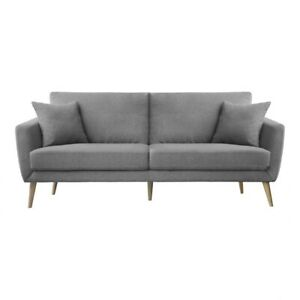 "79"" L Modern Living Room Sofa Light Grey Tapered Light Wooden Legs Loveseat"